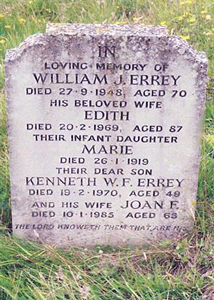 Gravestone of William, his wife Edith and their daughter Marie