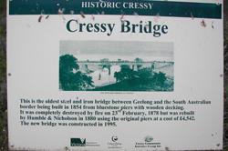 Old Cressy Bridge sign today